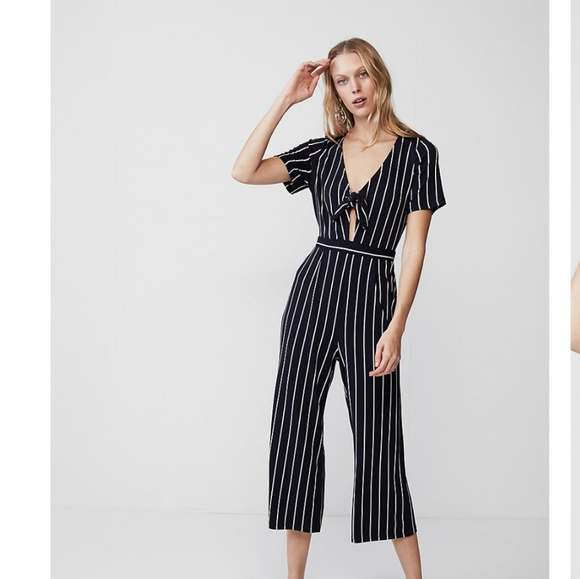 Express Pants Navy And White Striped Jumpsuit From Poshmark